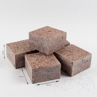 Maple Red Granite Flamed Surface and 4 Sides Straight Cut Cobblestone 10 x 10 x 5 cm