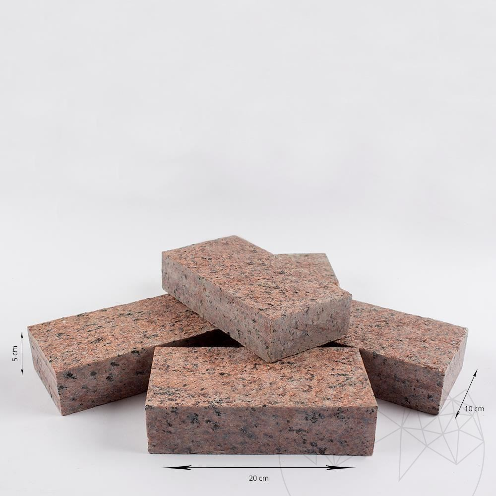 Maple Red Granite Flamed Surface and 4 Sides Straight Cut Cobblestone 10 x 20 x 5 cm