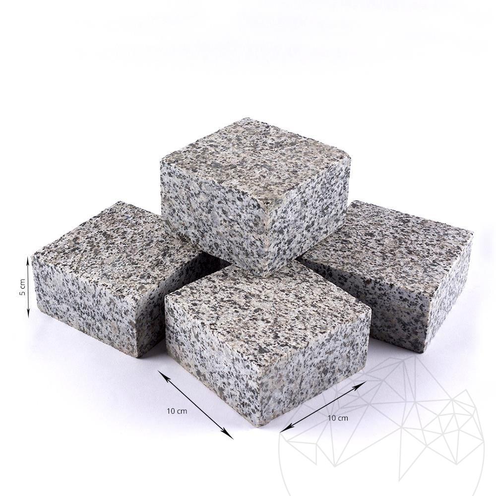 Grey Granite 4 Sides Cut Flamed Cobblestone 10 x 10 x 5 cm