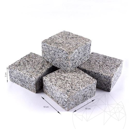Grey Granite 4 Sides Cut Flamed Cobblestone 10 x 10 x 5 cm