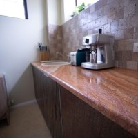 Peach Cross Cut Travertine Polished Countertop 250 x 65 x 3 cm