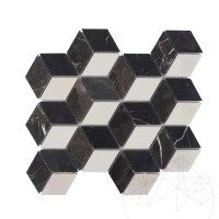 Bianco Carrara & Nero Marquina & Cleopatra Marble Honed Cube Design Mix Mosaic
