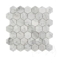 Bianco Carrara Marble Honed Small Hexagonal Mosaic
