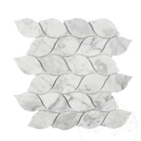 Bianco Carrara Marble Honed Tear Drop Mosaic