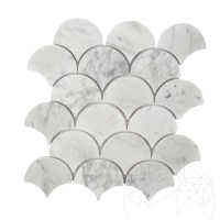 Bianco Carrara Marble Honed Fish Scale  Mosaic