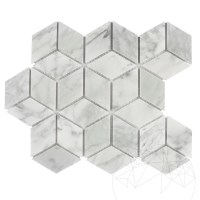 Bianco Carrara Marble Honed Cube Design Mosaic