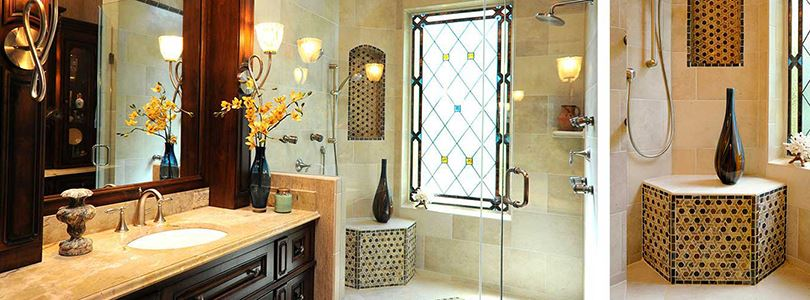 Moroccan inspired Mediterranean Bathroom