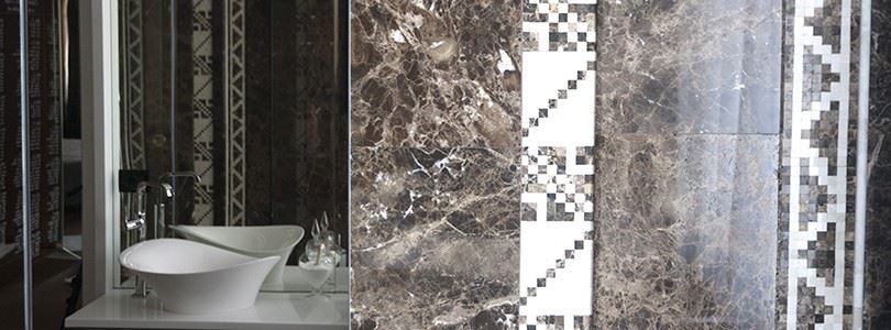 Marble mosaic border – homage to Romanian traditional motifs