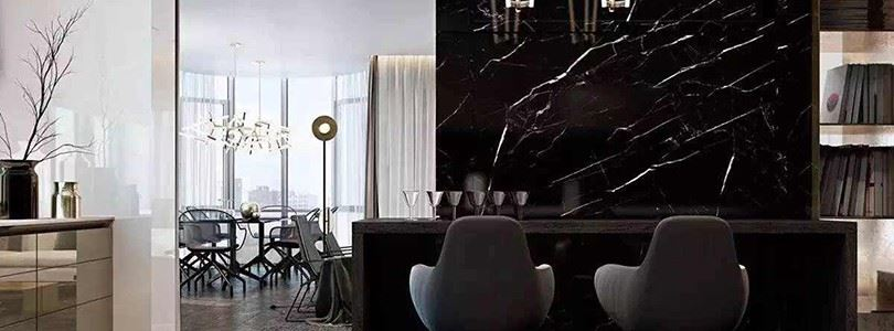 The sumptuous Nero Marquina marble