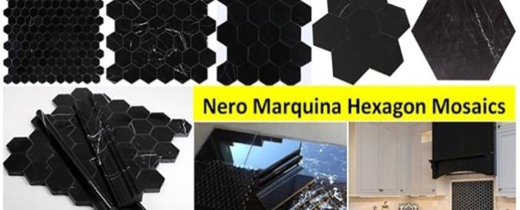 4 Decoration Projects with Nero Marquina Marble Polished Hexagonal Mosaic